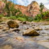The Virgin River flows through the middle of Zion National Park.